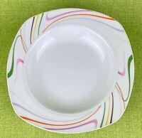 Tabletops Gallery Sicily 6 Wide Rim Soup/Salad Bowls White w Multicolor Edge