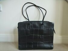 RADLEY Ladies Large Black Leather Croc Print Laptop Briefcase Work Bag