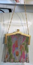 Antique Whiting & Davis DRESDEN MESH PURSE-Gold-tone Frame-Multi-color Body-NICE