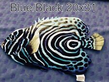 "SMALL BLUE/BLACK TROPICAL FISH  COLORFUL  DECORATIVE PILLOW   20""X 31"" NEW"