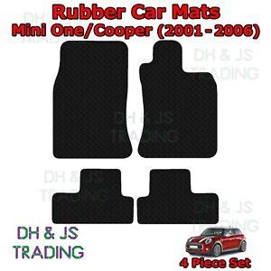 4pc Tailored Black Rubber Car Mat Set Fits Mini One / Cooper R50 R53 (2001-2006)