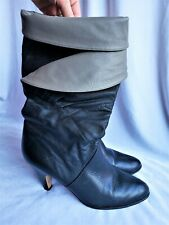 Calico Vintage Boots Heels Womens 8M Black Gray Pirate Halloween Costume *AS IS*