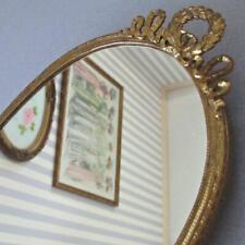 "Antique GILT Ormolu 11"" Mirrored VANITY Perfume Tray * WREATHS + RIBBONS Handles"