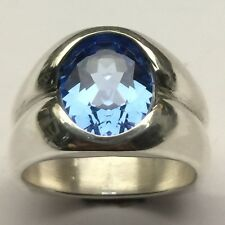 MJG STERLING SILVER MEN'S RING. 12 x 10mm LAB FACETED AQUAMARINE. SIZE 9.