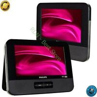 Philips 9-inch LCD Dual Screen Portable DVD Player Builtin Stereo Speakers Black
