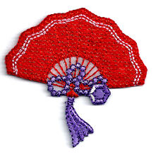RED HAT SOCIETY IRON ON PATCH - EMBROIDERED FAN ~ METALLIC GOLD THREADED DETAILS