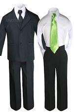 6pc Baby Toddler Boy Teen Black Formal Wedding Tuxedo Suits + Satin Necktie