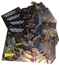 BATMAN vs WILDCAT 1996 Wizard Magazine LOT of ( 4 ) Die-Cut PROMO Chrominiums