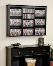 Black Media Storage Cabinet Wall Hanging Shelf Rack CD DVD Display Organizer