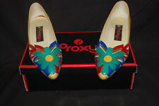 Shoe Proxy Myrna Dafo Liber Yellow Blue  Flowers Vintage Women Dress Sz 7.5 M