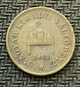 1899 Hungary 1 Filler Coin XF +     High Grade World Coin    #C860