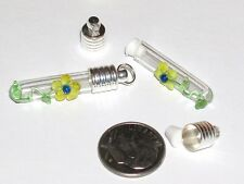 1 Small Daisy Flower Glass Bottle Lampwork rice vial charm pendant Yellow & Blue