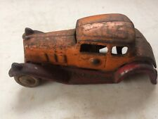 VINTAGE ANTIQUE CAST IRON TOY CAR SEDAN - DENT - ARCADE- HUBLEY Orange