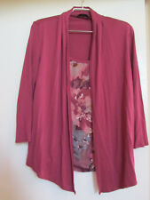M&S Pink & Grey Floral 2 Layer Cardigan Look 3/4 Sleeve Top in Size 12