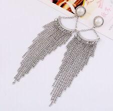 Fashion Charm Long Tassels Chain Fan Shape Statement Dangle Pearl Earring Stud