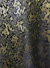 BLACK GOLD METALLIC CHINESE BROCADE FABRIC (60 in.) Sold By The Yard