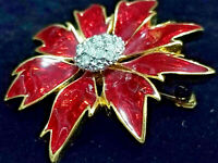 VINTAGE SPARKLE! Rhinestone Flower Brooch w Red Glass Petals Gold Tone 1.75""