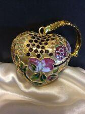 "Cloisonné 2.25"" Heart Shaped Ornament With Fruits/Floral"