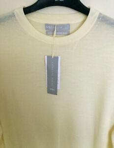M&S Size 12 14 Light Cream Round Neck Extra Fine Merino Wool Jumper RRP £35