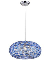 Suspended Lights Modern Design IN Acrylic And Chrome Metal Blue