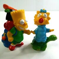 "BART & MAGGIE SIMPSON 1990 Burger King 3"" Camping Figures Lot FREE SHIPPING"