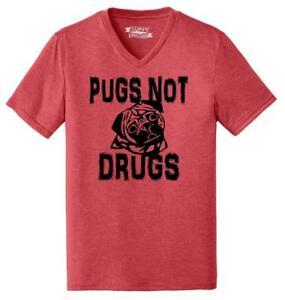 Mens Pugs Not Drugs Funny Dog Lover Pug Lover Shirt Triblend V-Neck Puppy