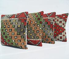 "Embroidered Pillows Kilim Hand Woven Turkish Square Wool Green Area Rugs 16""X16"""
