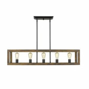 Golden Lighting Sutton 5-Light Linear Pendant in Black with Wood Cage