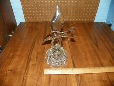 Vintage CAMBRIDGE GLASS Seagull Bird Crystal Flower Frog
