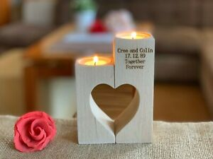Personalized Wooden Heart Candle Holder Custom Tealight Valentines Day Gift Est.