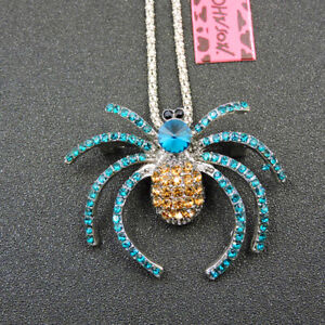 Charm Betsey Johnson Blue Gold Crystal Spider Necklace Sweater Chain/Brooch