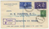 1946 Jun 11th. Registered First Day Cover. Tangier. Victory Issues.