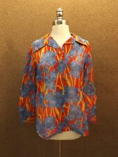 Nos Vtg 70s Peek-a-boo Shear Spring Season Red Blue Day Lily Floral Blouse 16/36