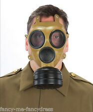 Mens Adult WW2 Brown Gas Mask Halloween Fancy Dress Costume Accessory