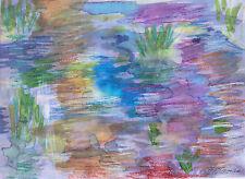 """POND"" by Ruth Freeman MIXED MEDIA WATERCOLOR/CRAYONS  6 3/4"" X 9"""
