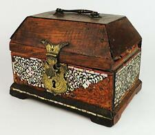 GUJARATI INDIAN MOTHER-OF-PEARL INLAID WOODEN CASKET c1600