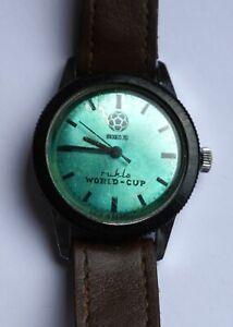 RUHLA Armbanduhr Herrenuhr Mexico 1970 World Cup DEFEKT für BASTLER Aufzug