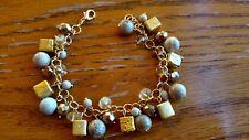"""Citrine, Jasper, beaded cha cha Bracelet gold filled 8"""" made in USA"""