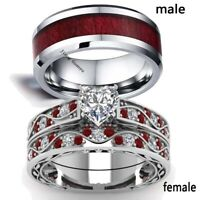 Couple Rings Tungsten Carbide Mens Wedding Band Red CZ Womens Wedding Ring Sets