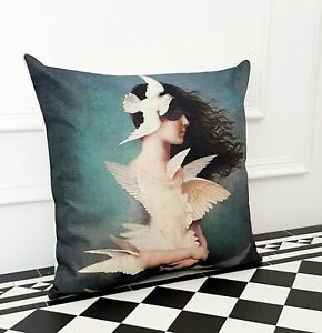 Turquoise Angel Girl Doves Contemporary Designer Occasion Scatter Pillow Cushion