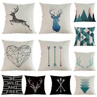 Cotton Linen Square Throw Pillow Case Sofa Waist Cushion Cover Home Decorative