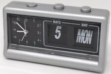 Rare Quartz Table Alarm Clock with Flip Calendar Battery Operated Travel HTF
