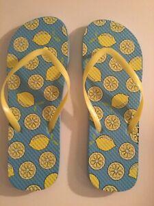 flip flops shoes Size 9 10 large lemons thongs yellow blue summer womens New