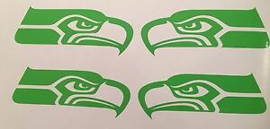 """Seatle Seahawks Lime Green Vinyl Decals 4 Pack 1.38""""x3.25""""**FREE SHIPPING**"""