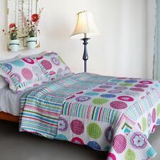 3 Pc Tropical Bubbles pink blue 100% Cotton Queen Quilt Shams