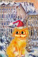 Boris Kasyanov.Golden cat on the winter. Russian modern Rare new postcard