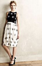 NEW Anthropologie Rachel Antonoff black white Silk Bubble Snowflake Dress 0