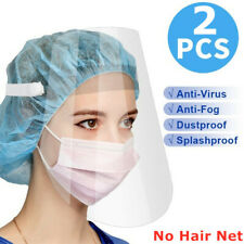 2PC Transparent Full Face Mask Clear Safety Protective Shield Anti-Saliva Cover