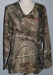 New Ladies REALTREE AP Camo Long Sleeve V-Neck T-Shirt Womens L XL 2XL Shirt NWT