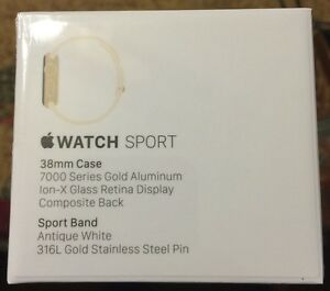Apple Watch Sport 38mm Gold Aluminum Case Antique White Sport Band